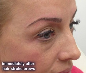 Example of Hair stroke brows immediately after treatment