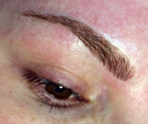 Eyebrow Cosmetic Tattoo Hair stroke/feathering method only