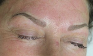 Eyebrow Cosmetic Tattoo Combination hair stroke and powder fill