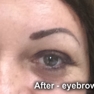 Cosmetic tattoo eyebrows after powder fill treatment