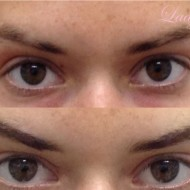 Gap filled cosmetic tattoo eyebrows before and after
